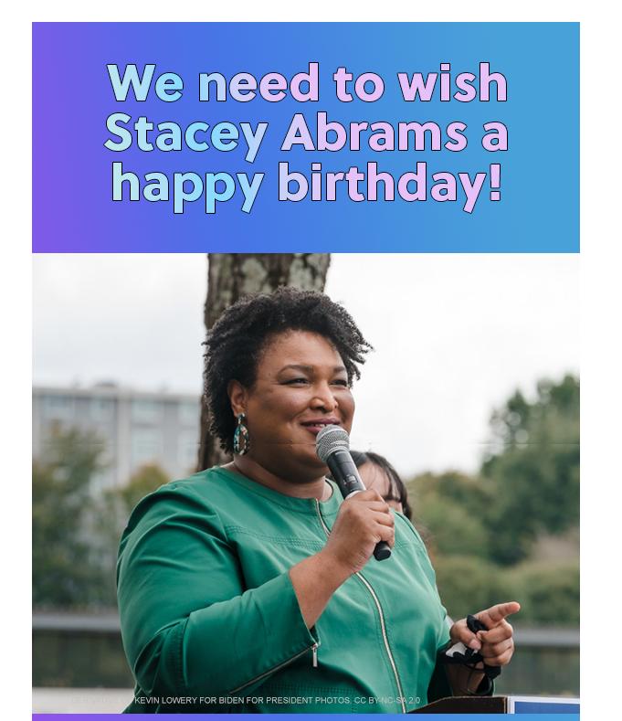 DGA Stacey Abrams Birthday Card