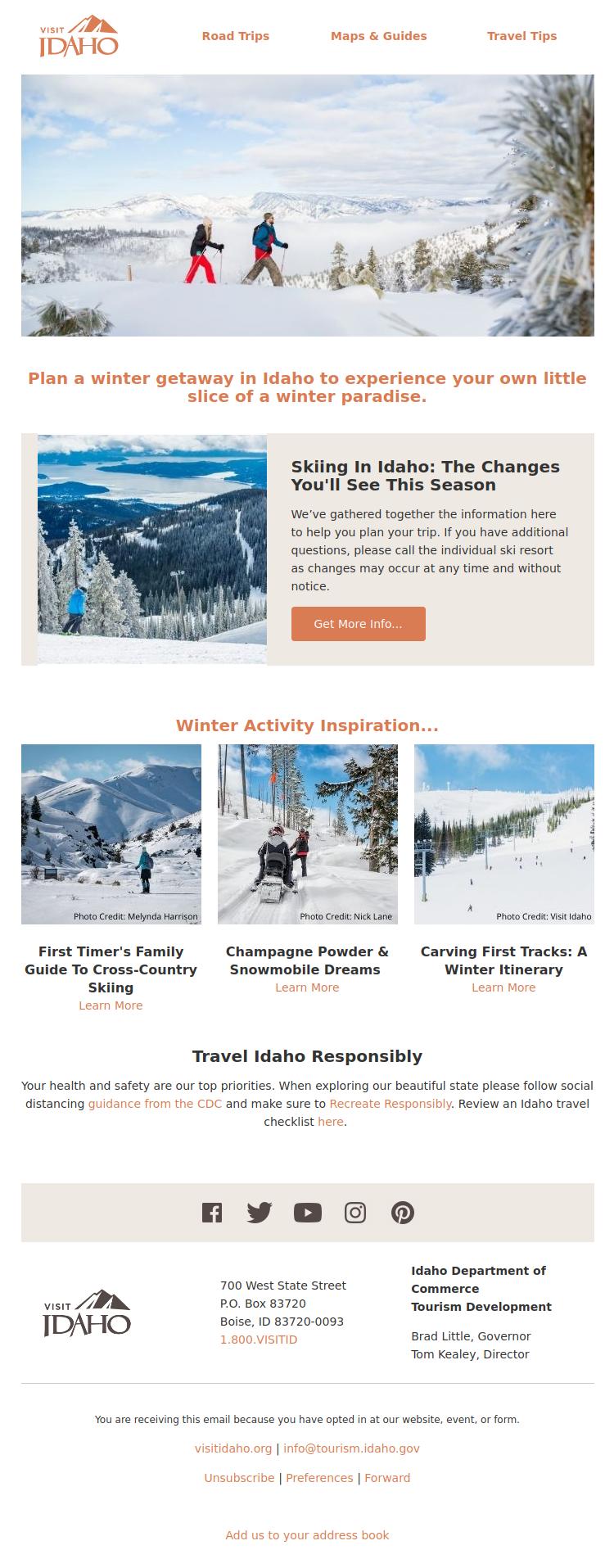 Idaho Tourism Winter Paradise Newsletter