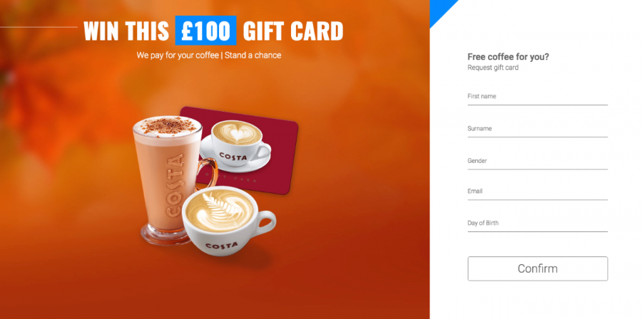 Localized Costa Coffee Landing Page