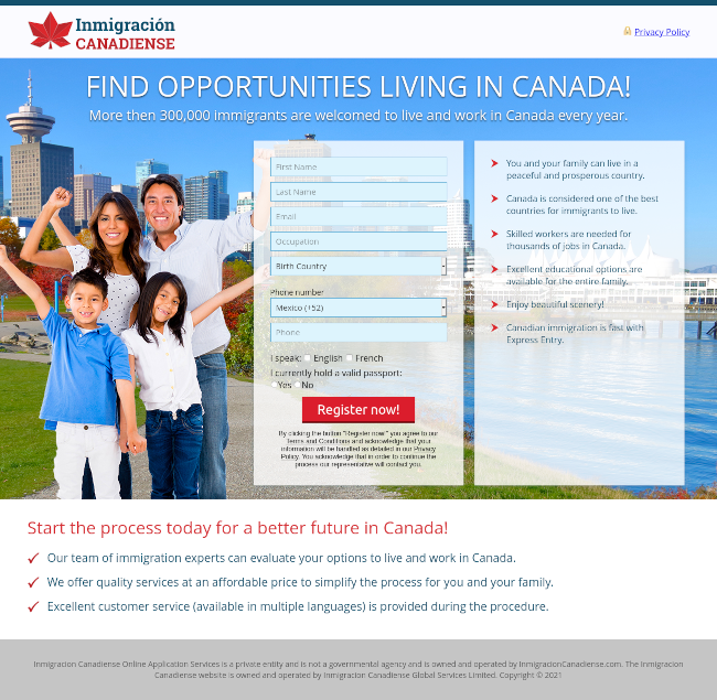 Great North Immigration Landing Page